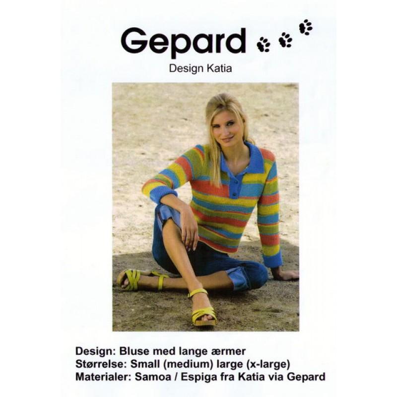 Gepard mønster Bluse m/krave-00