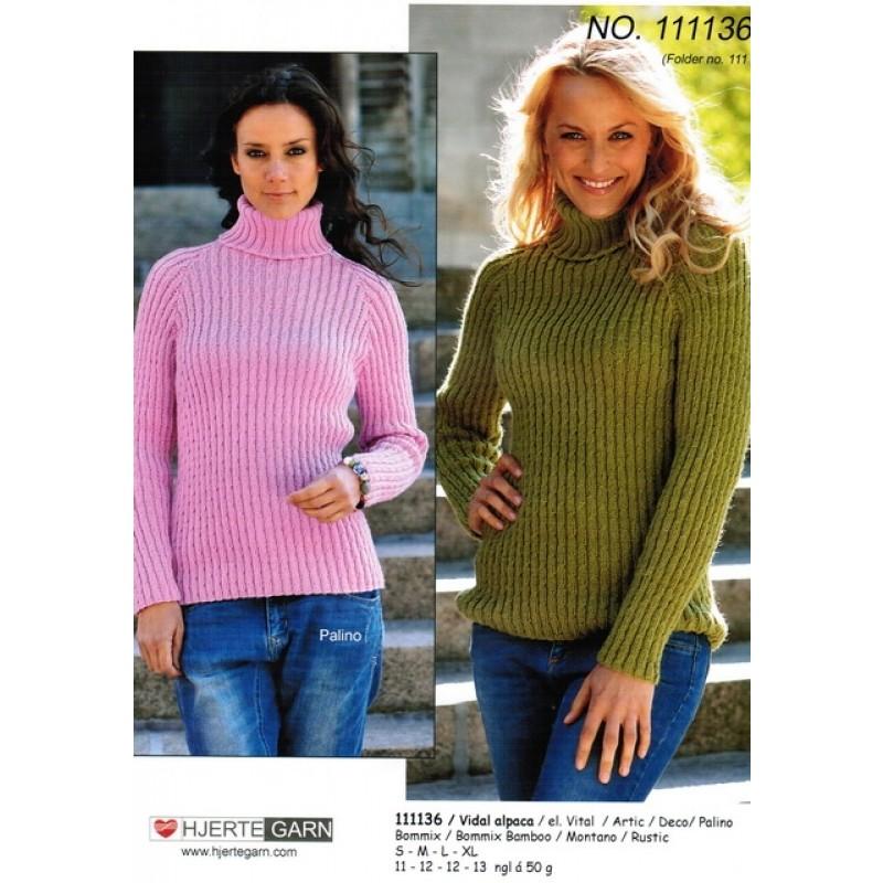 111136 Sweater i rib m/forskudte snoninger