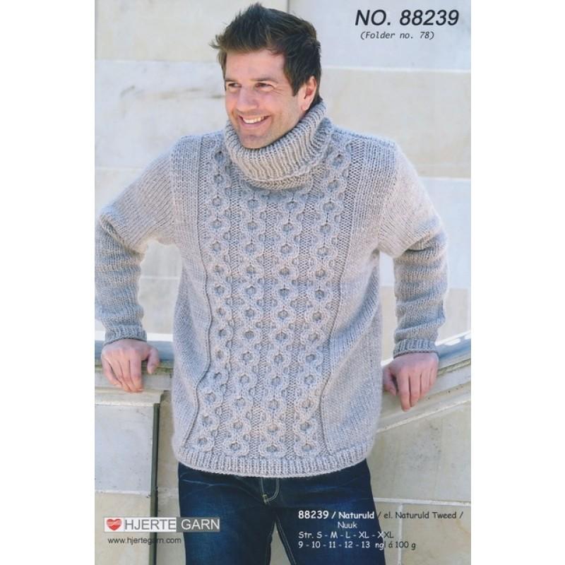 88239 Herre-sweater m/aranmønster