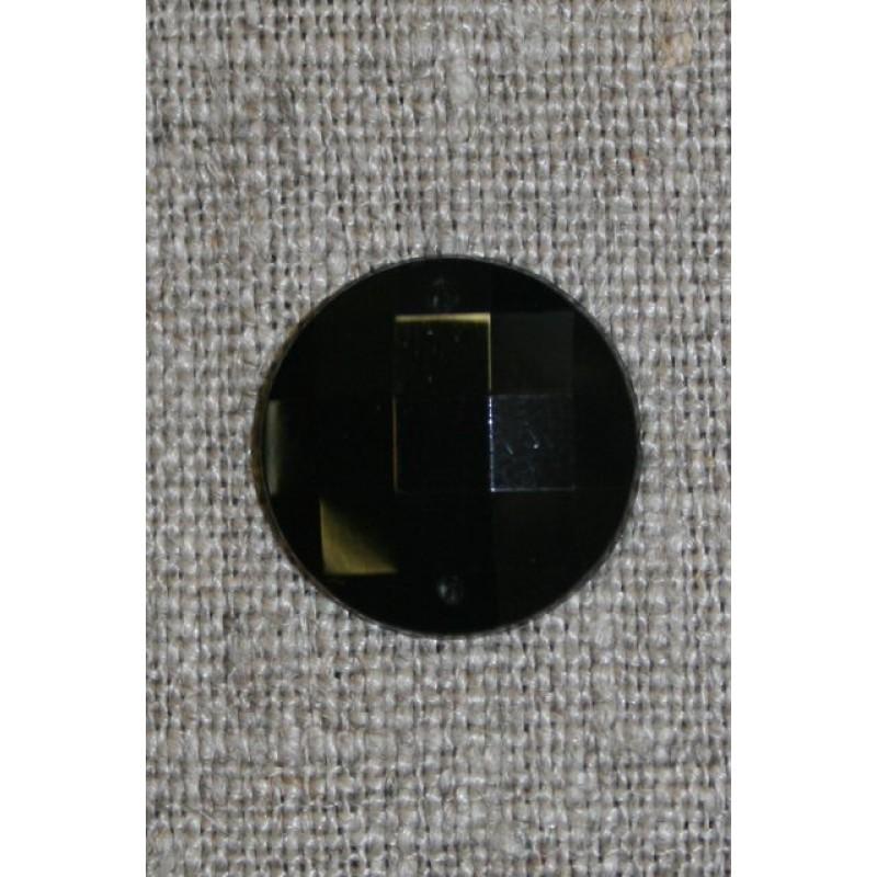 Faset slebet pynte-sten, sort