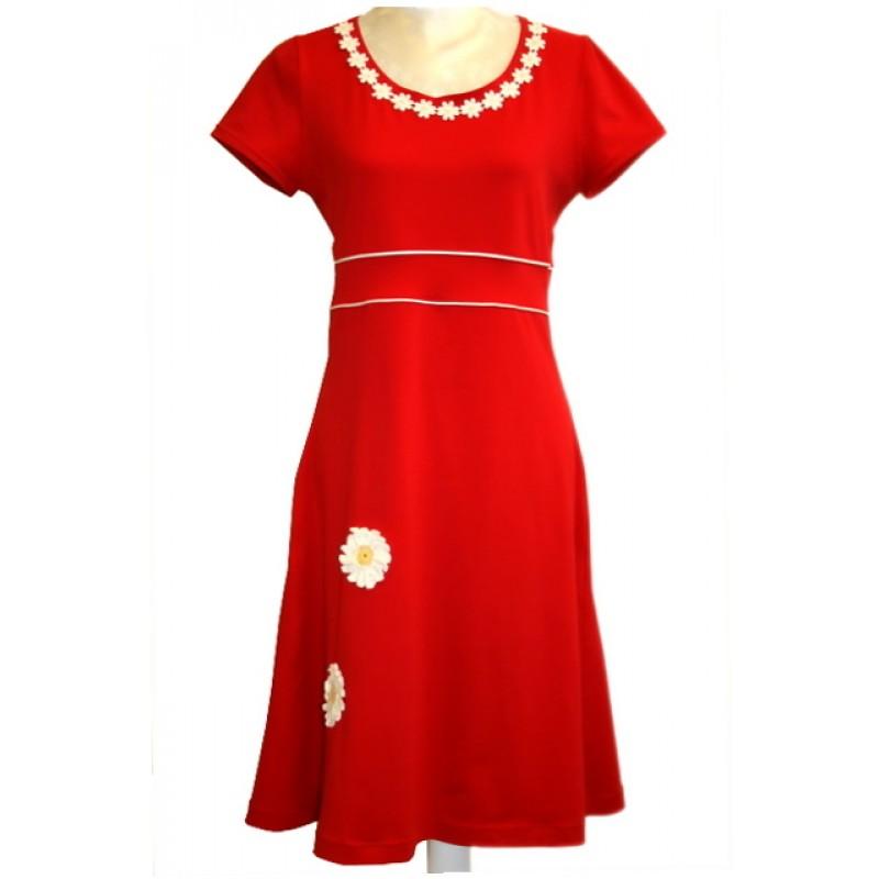 Jersey kjole rød m/Marguerit-33