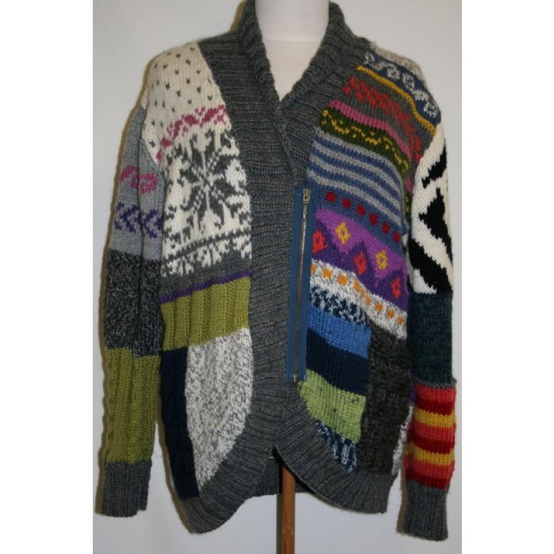 Strik jakke i patchwork-look-35