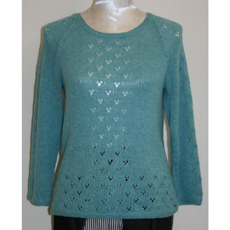Bluse med hul-mønster model 1708 strikket i Organic 350 / Cotton Linen