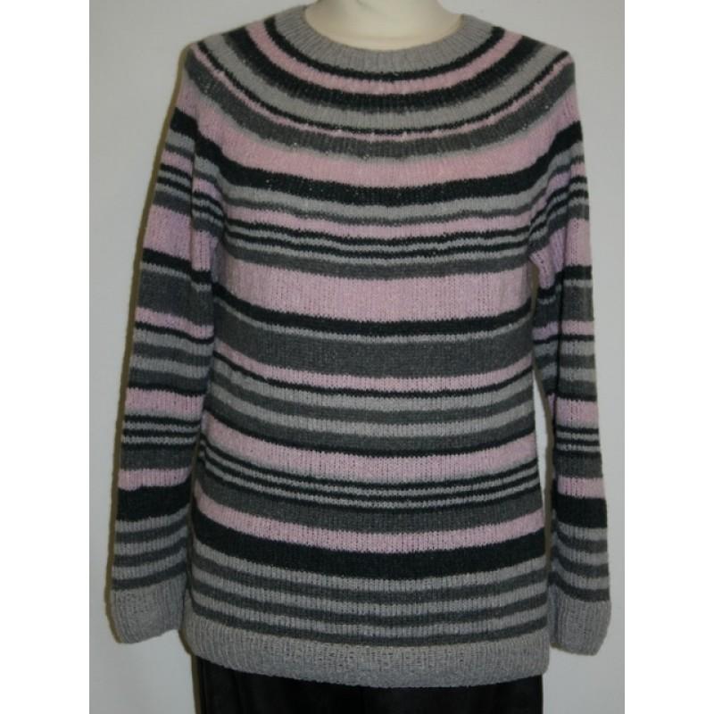 Bluse med striber og rundt bærestykke model 1708 strikket i Wool Silk