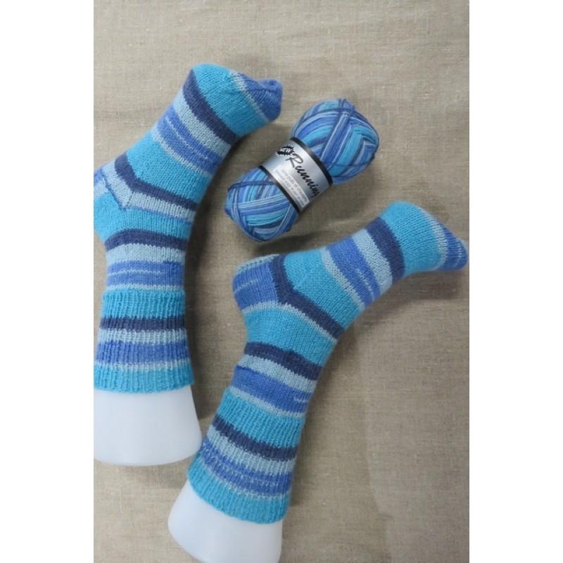 Strømpegarn New Running i støvet blå turkis denim-08