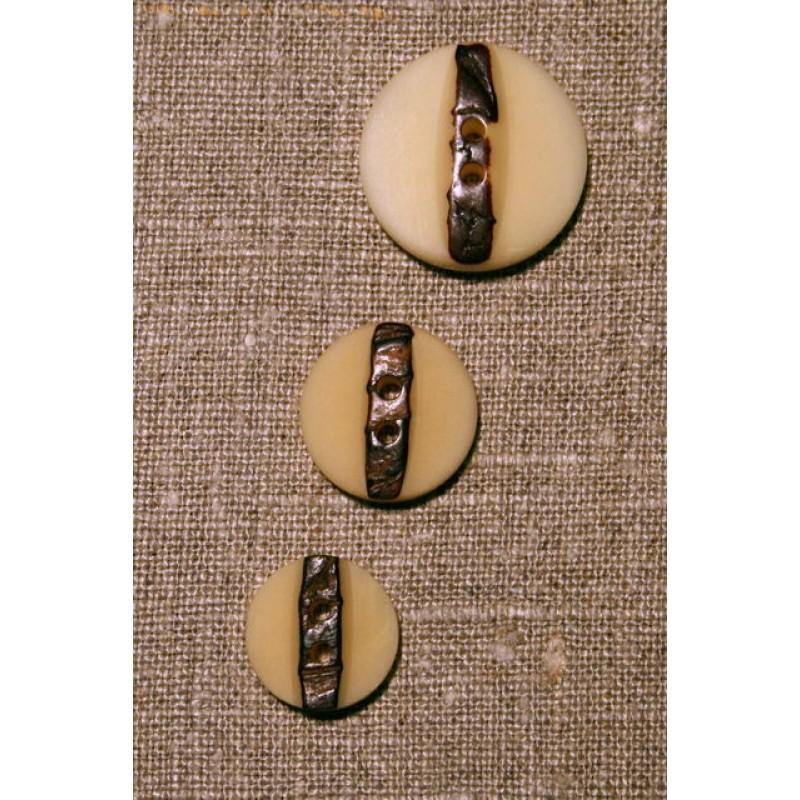 Off-white m/brun knap, 23 mm.-33
