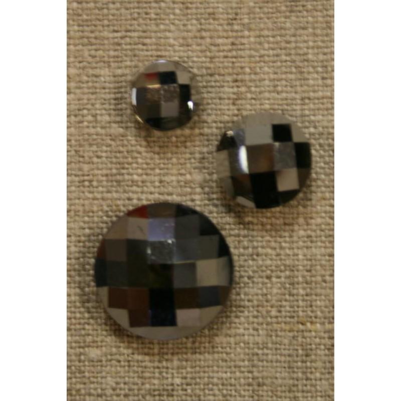Facet-slebne knapper, sølv 14 mm.-35
