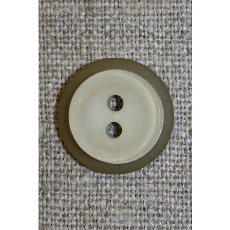 Lys beige/grøn knap m/oliven kant, 18 mm.-35