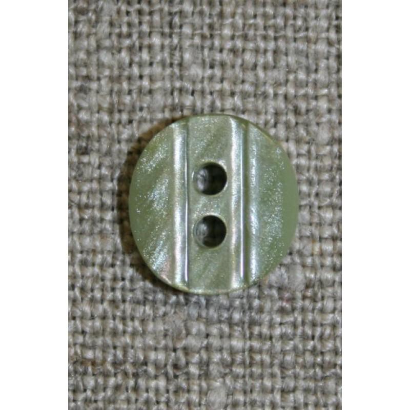 Lille knap m/rille 11 mm. lys støvet grøn