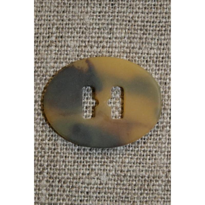 Oval knap/spænde m/lange huller, brun/okker-33