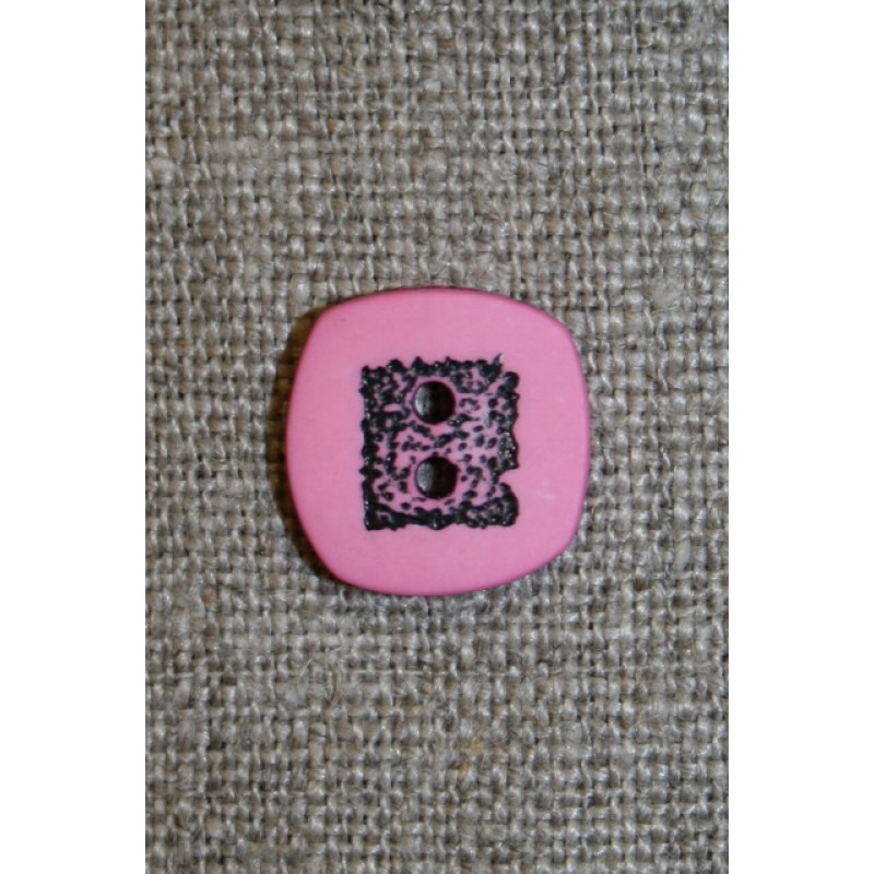 Lyserød/sort firkantet knap, 14 mm.-31