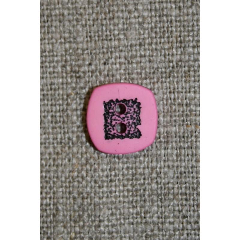 Lyserød/sort firkantet knap, 10 mm.
