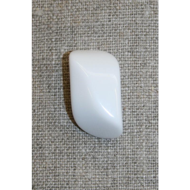 Aflang hvid knap, 28 mm.