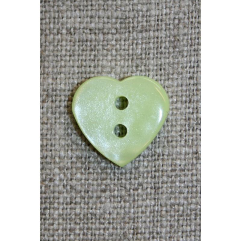 Blank hjerte-knap, lysegrøn-33