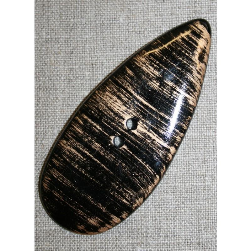 Stor dråbe-formet knap sort/guld-31