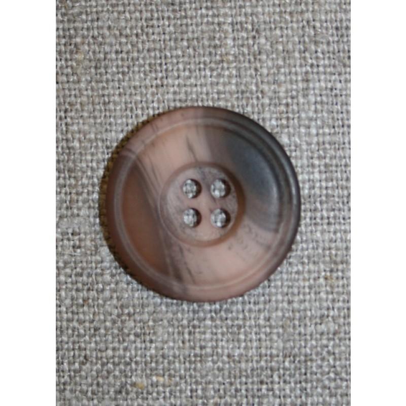 Meleret 4-huls knap pudder/brun, 23 mm.-31