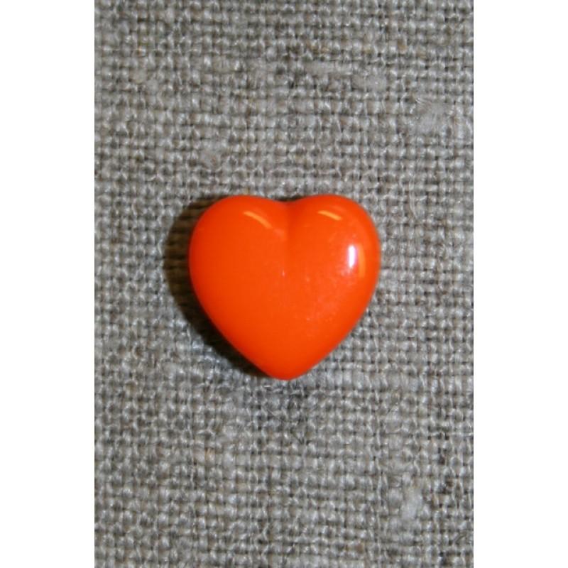 Orange hjerte-knap, 13 mm.