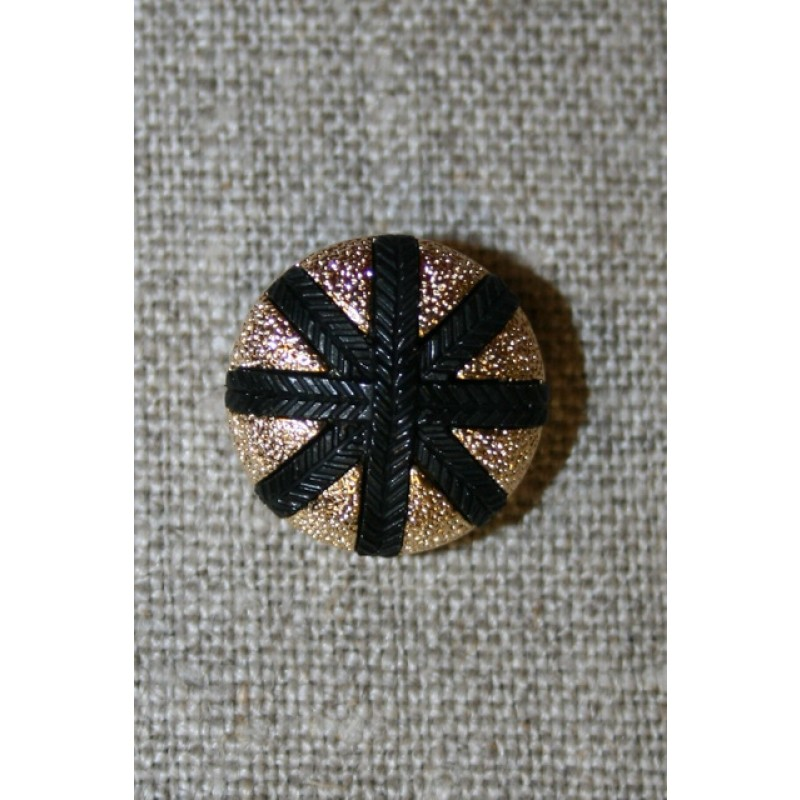 Knap m/streger, guld/sort, 14 mm.