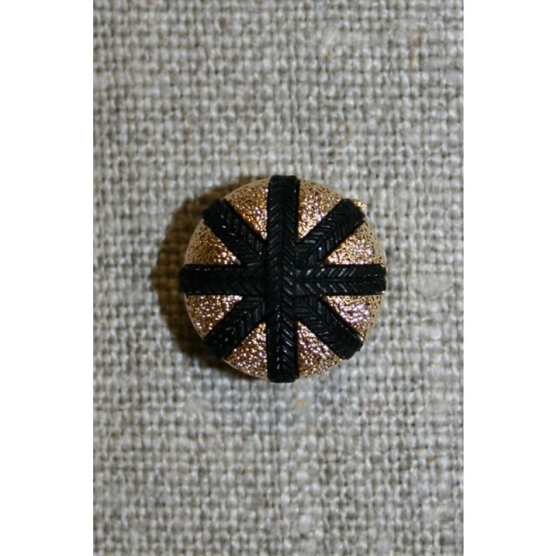 Knap m/streger, guld/sort, 17 mm.