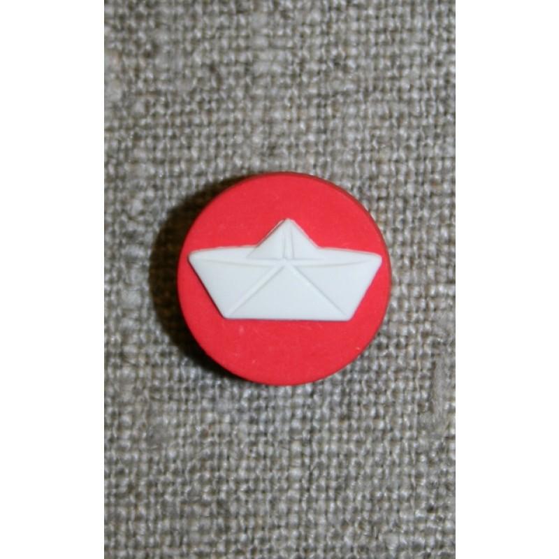 Knap m/papir-hat, rød/hvid