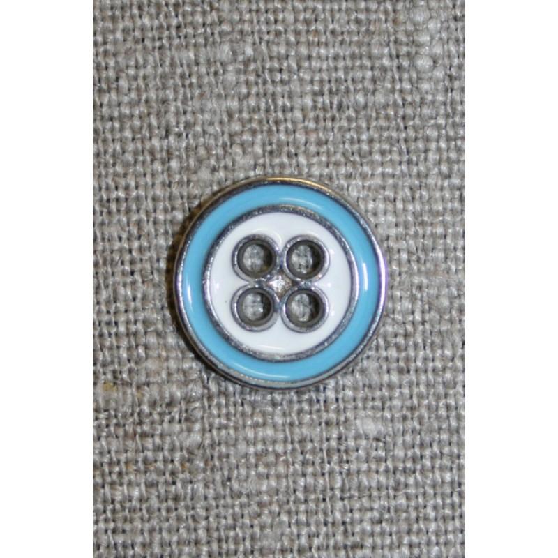 Metal-knap sølv/lyseblå/hvid