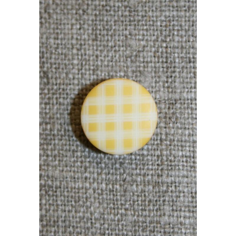 Ternet knap gul & hvid, 13 mm.