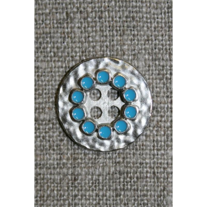 Metal-knap sølv/turkis, 18 mm.-33
