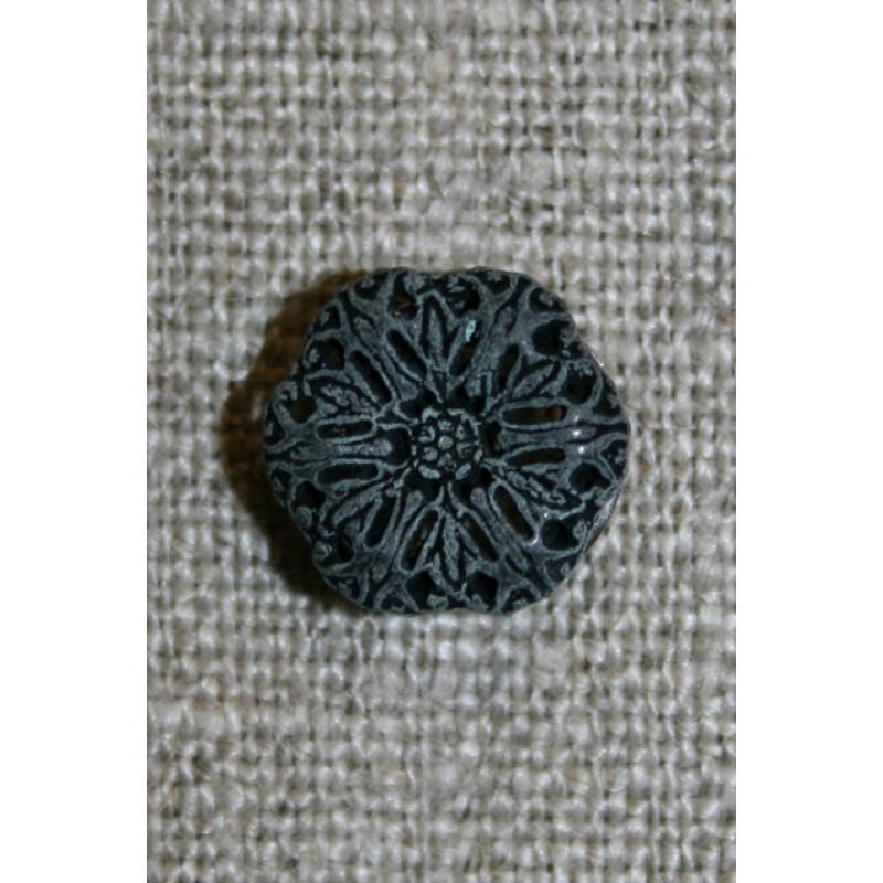 Metal-knap blomst koksgrå-31