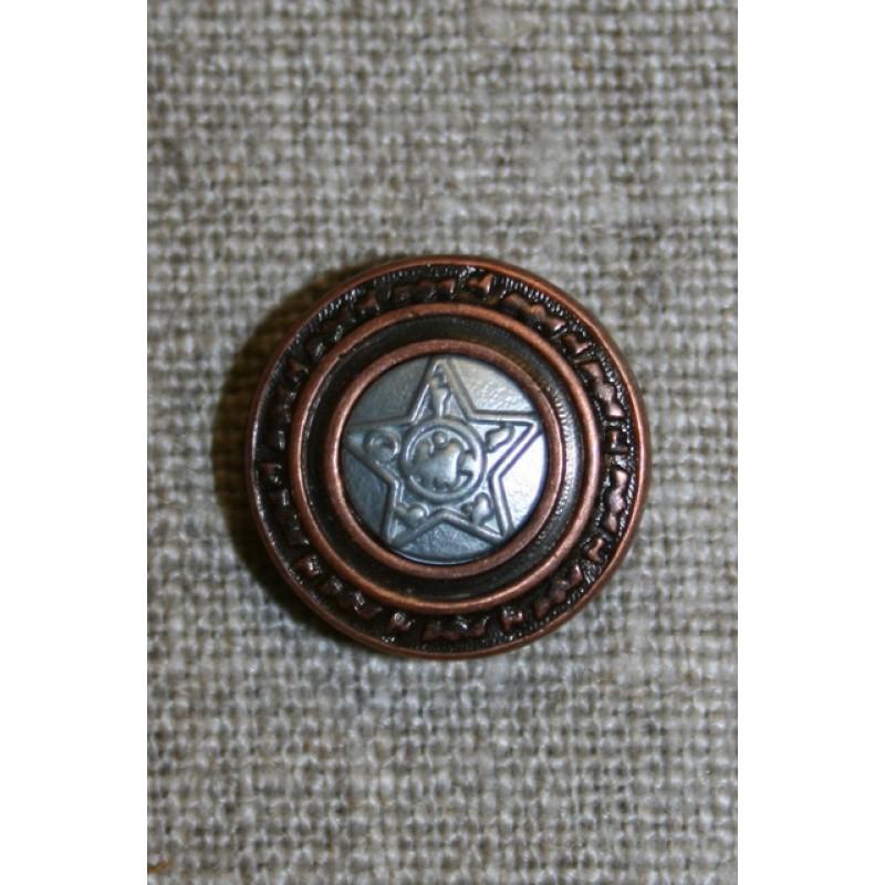 Metal-knap m/stjerne, kobber/sølv, 18 mm.