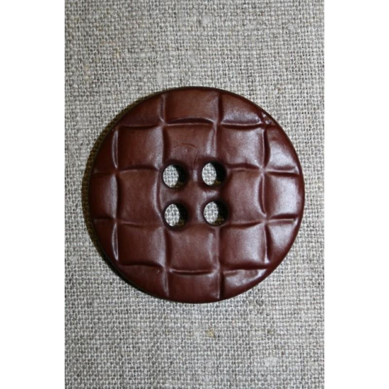 Stor knap m/flet-look, brun-31