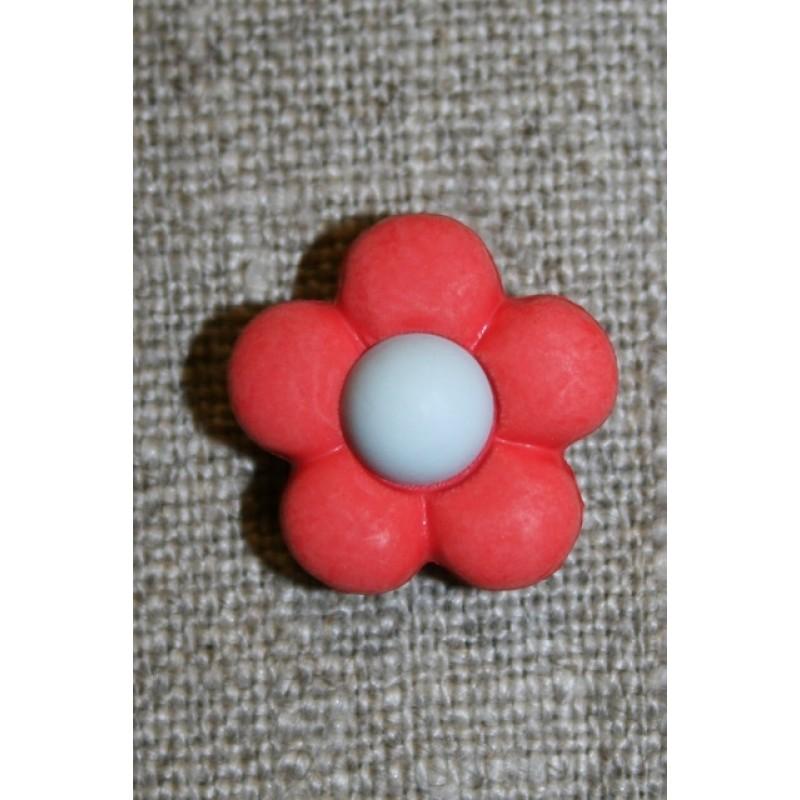 2-farvet blomsterknap koral/lysegrå-31