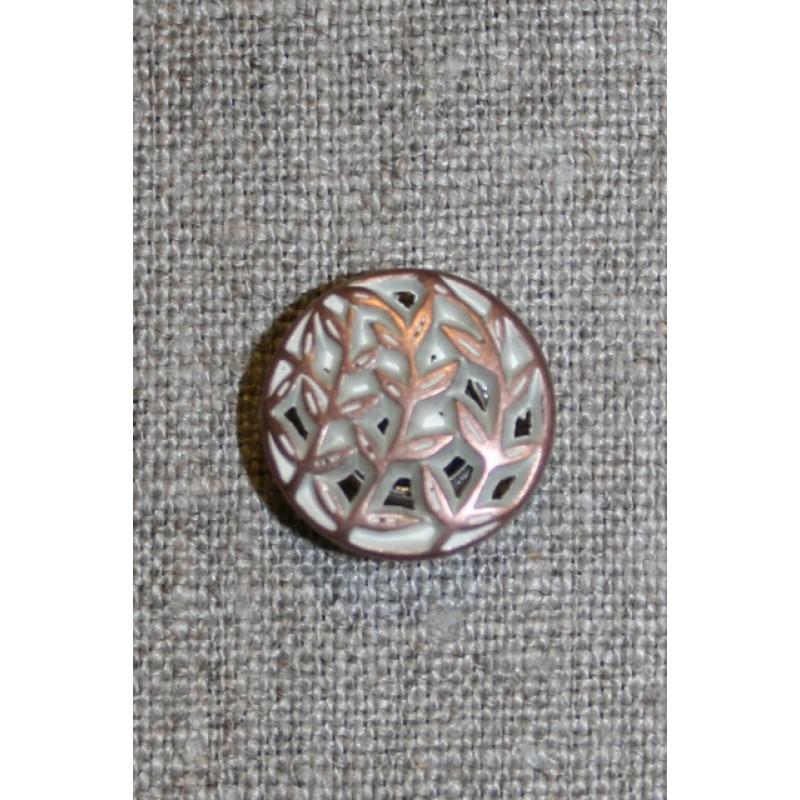 Metalknap m/hulmønster kobber/hvid, 18 mm.
