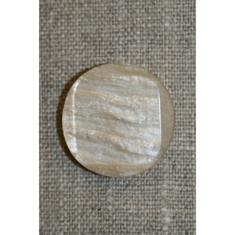 Beige rund/firkantet knap, 25 mm.