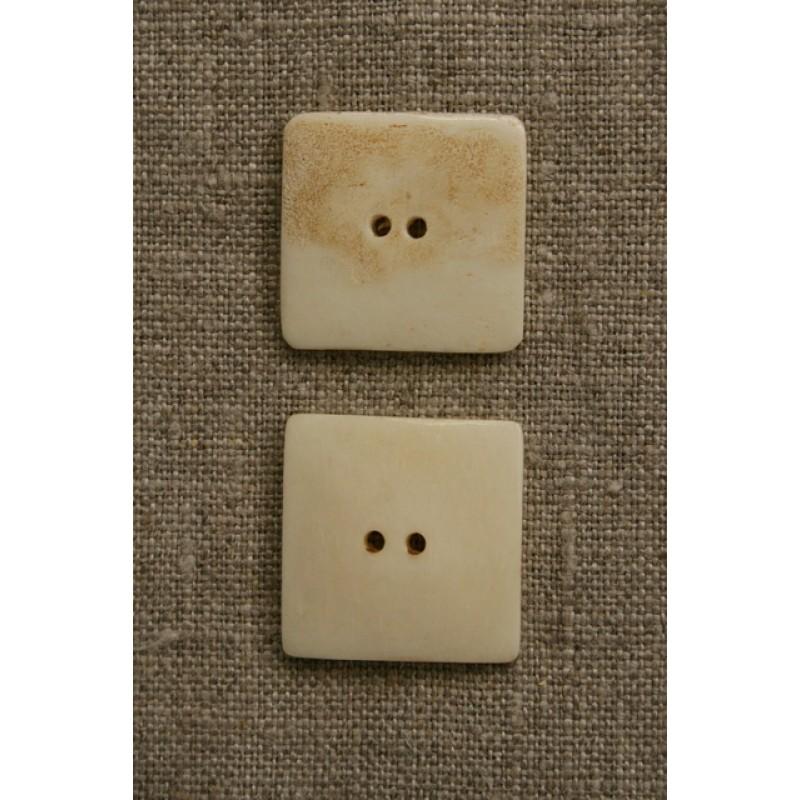 Håndlavet firkantet knap i ben, off-white