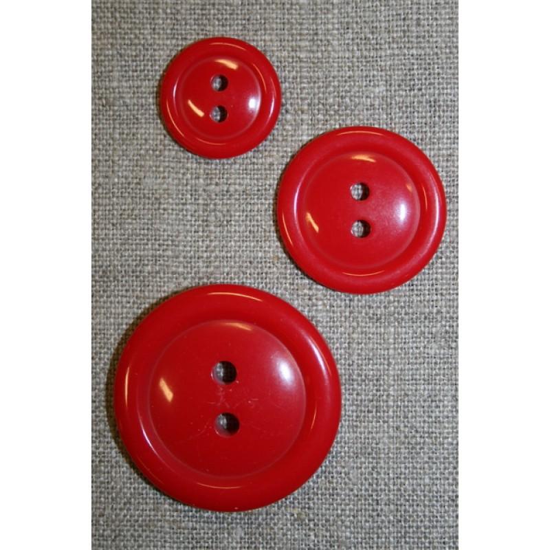 Rød let blank 2-huls knap 15 mm