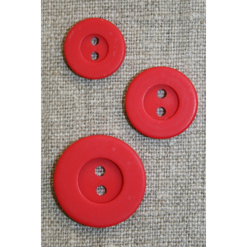 Rød 2-huls knap m/kant 18 mm.