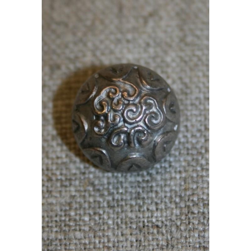 Rund gl.sølv knap m/mønster 15 mm.