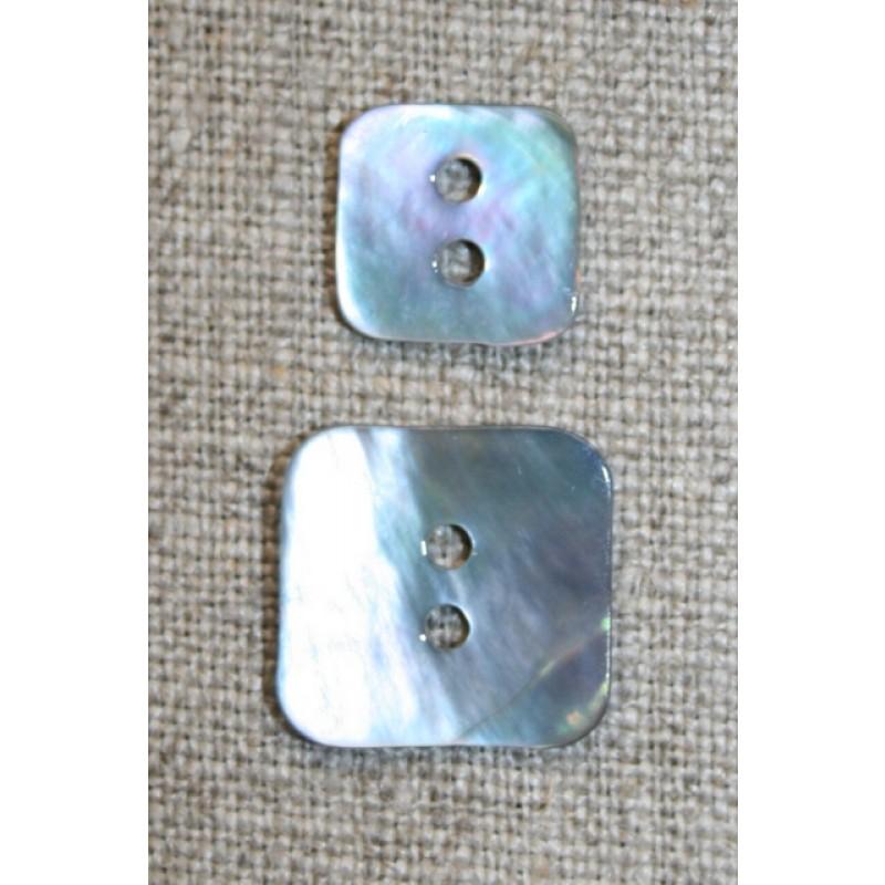 Firkantet perlemorsknap, lyseblå, 15 mm.