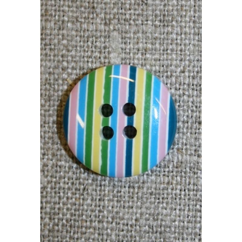 Bolche-stribet rund knap, turkis/grøn/lyserød-31