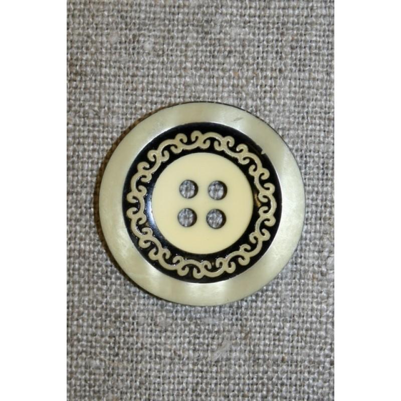 4-huls knap m/mønster sort/lysegul, 28 mm.