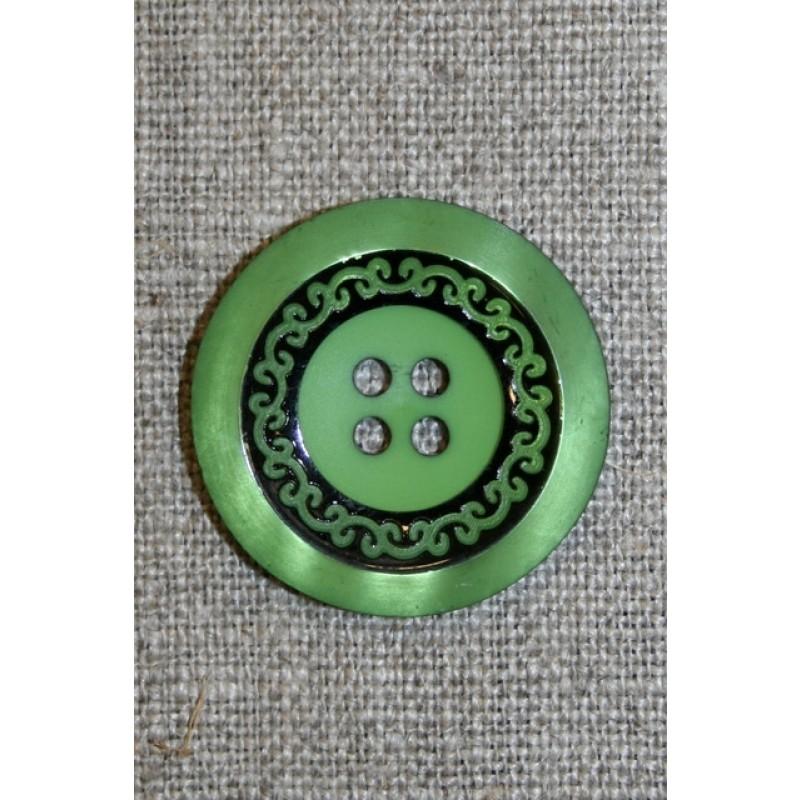 4-huls knap m/mønster sort/grøn, 28 mm.-31