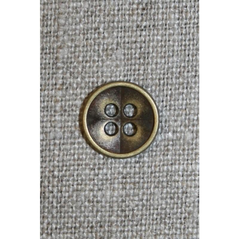 4-huls Gl.guld metal-knap, 12 mm.