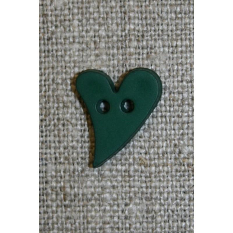 Skæv hjerte-knap mørkegrøn, 17 mm.-33