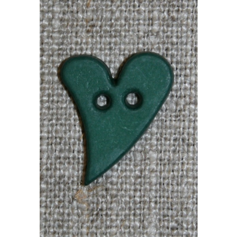 Skæv hjerte-knap mørkegrøn, 20 mm.