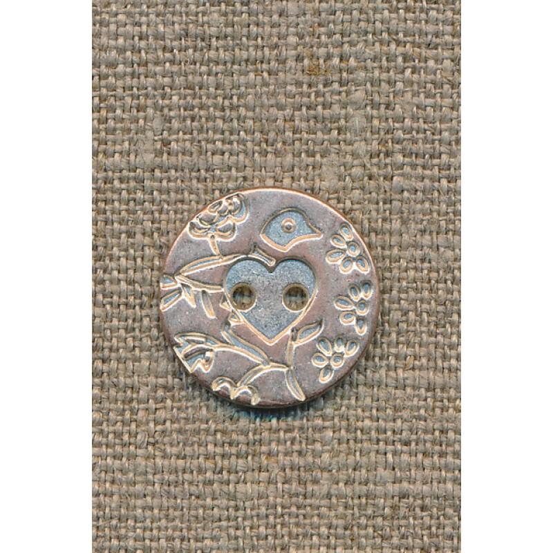 Metal-knap m/fugl sølv/kobber, 20 mm.
