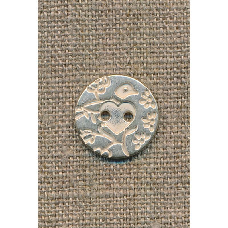 Metal-knap m/fugl sølv/hvid, 18 mm.-35