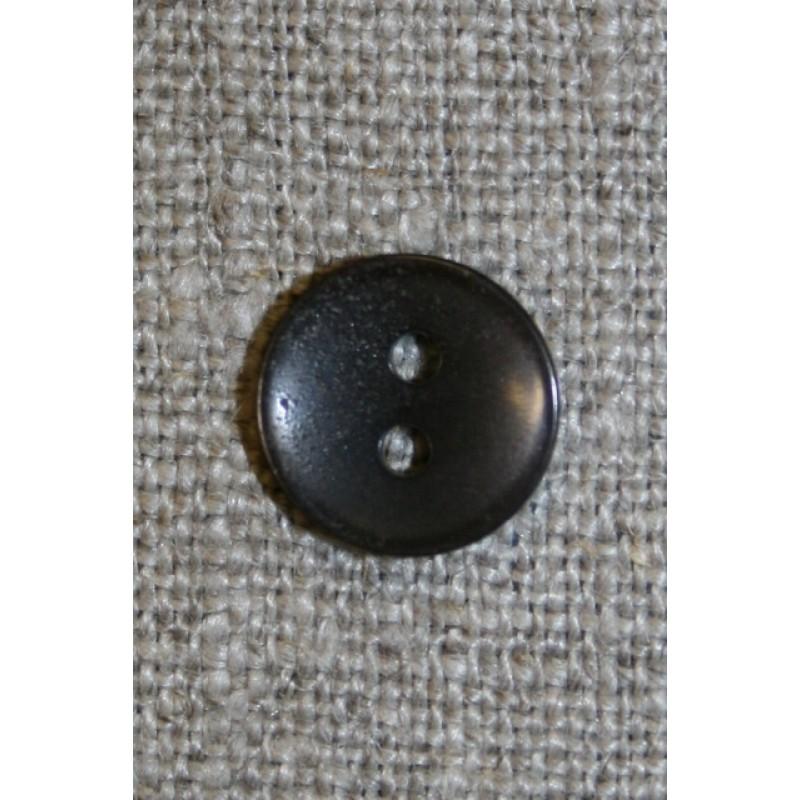 Lille mørk grå-brun 2-huls knap-31