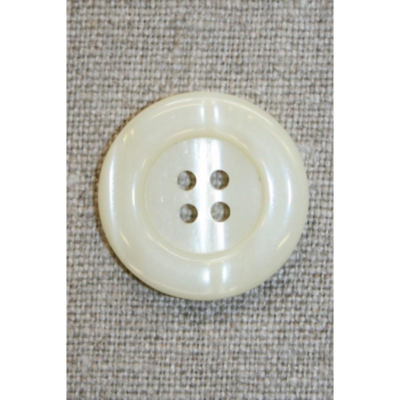 Off-white 4-huls knap, 25 mm.