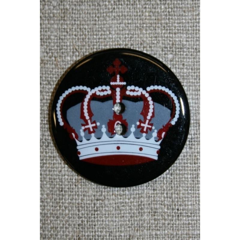 2-huls knap sort/grå/rød m/konge krone-31