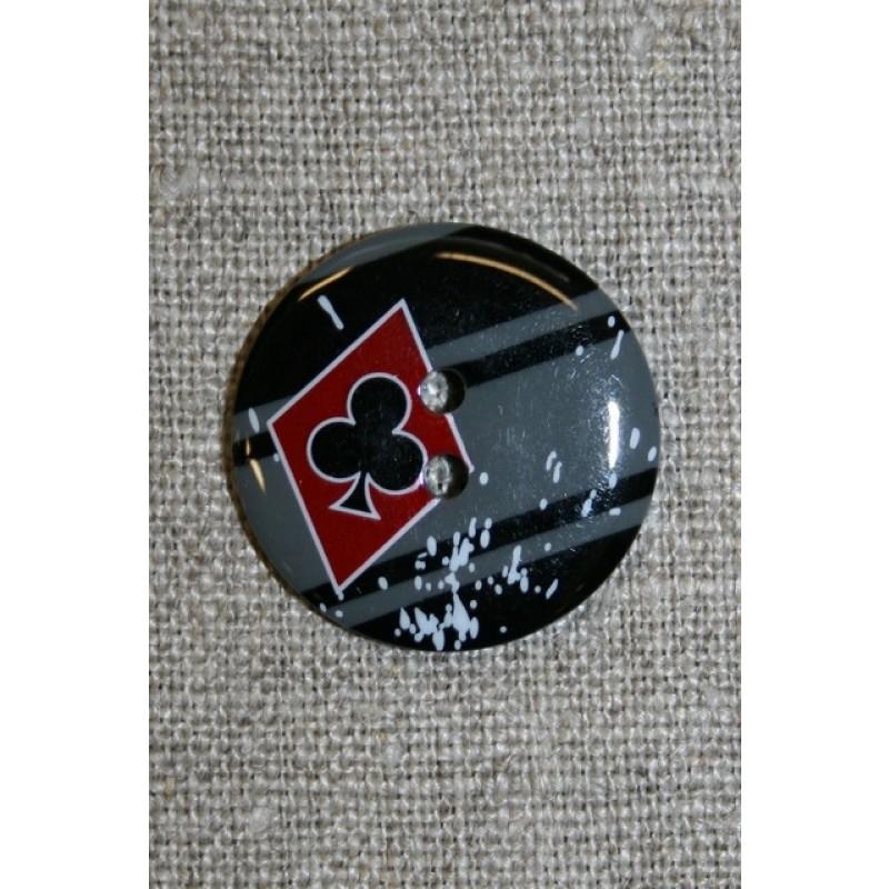 2-huls knap sort/grå/rød m/ruder/klør-31